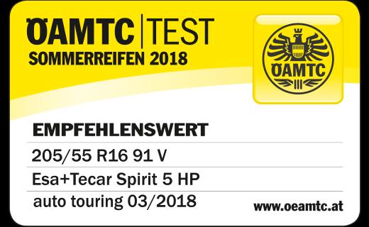 ÖAMTC TEST 03/2018 ESA+TECAR SPIRTIT 5 HP