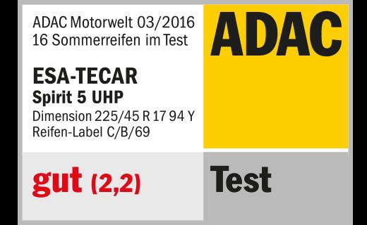 ADAC TEST 03/2016 ESA+TECAR SPIRTIT 5 UHP