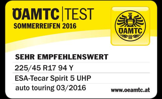 ÖAMTC TEST 03/2016 ESA+TECAR SPIRTIT 5 UHP