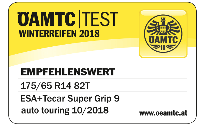 ÖAMTC TEST 03/2018 ESA+TECAR SUPERGRIP 9 | TEST: GUT
